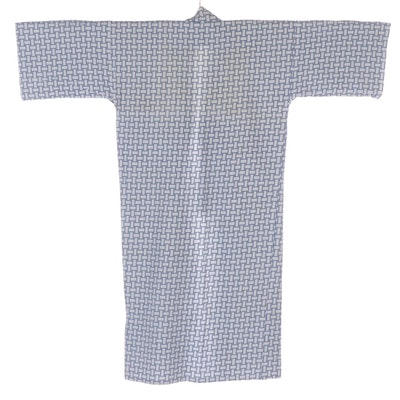 Men's Hakko Linen Supply Basketweave/Crosshatch Patterned Yukata, Shōwa Period