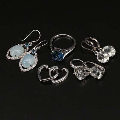 Sterling Earrings and Ring with Topaz and Gemstones