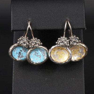 Michael Dawkins Sterling Quartz Doublet Drop Earrings