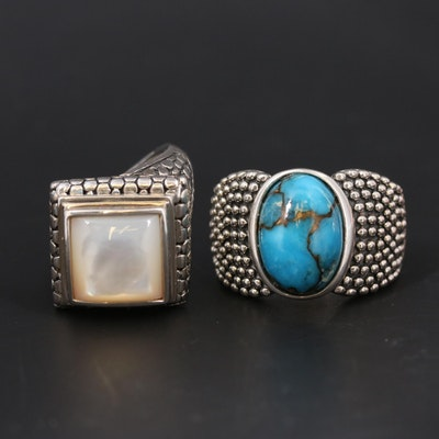 Michael Dawkins Sterling Turquoise and Mother of Pearl Rings
