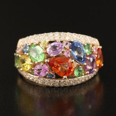 EFFY 14K YELLOW GOLD DIAMOND, NATURAL CEYLON SAPPHIRE, ORANGE SAPPHIRE, PINK SAPPHIRE, PURPLE SAPPHIRE, TSAVORITE, YELLOW SAPPHIRE RING