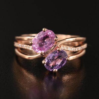 EFFY 14K ROSE GOLD DIAMOND, PINK SAPPHIRE, PURPLE SAPPHIRE RING