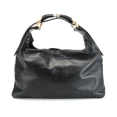 Gucci Horsebit Black Leather Hobo Bag