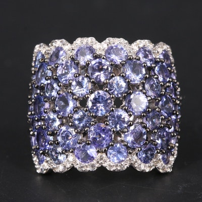 Sterling Tanzanite and Zircon Cluster Domed Band with Scalloped Edge