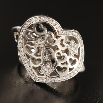 Pasquale Bruni 18K Diamond Openwork Heart Ring