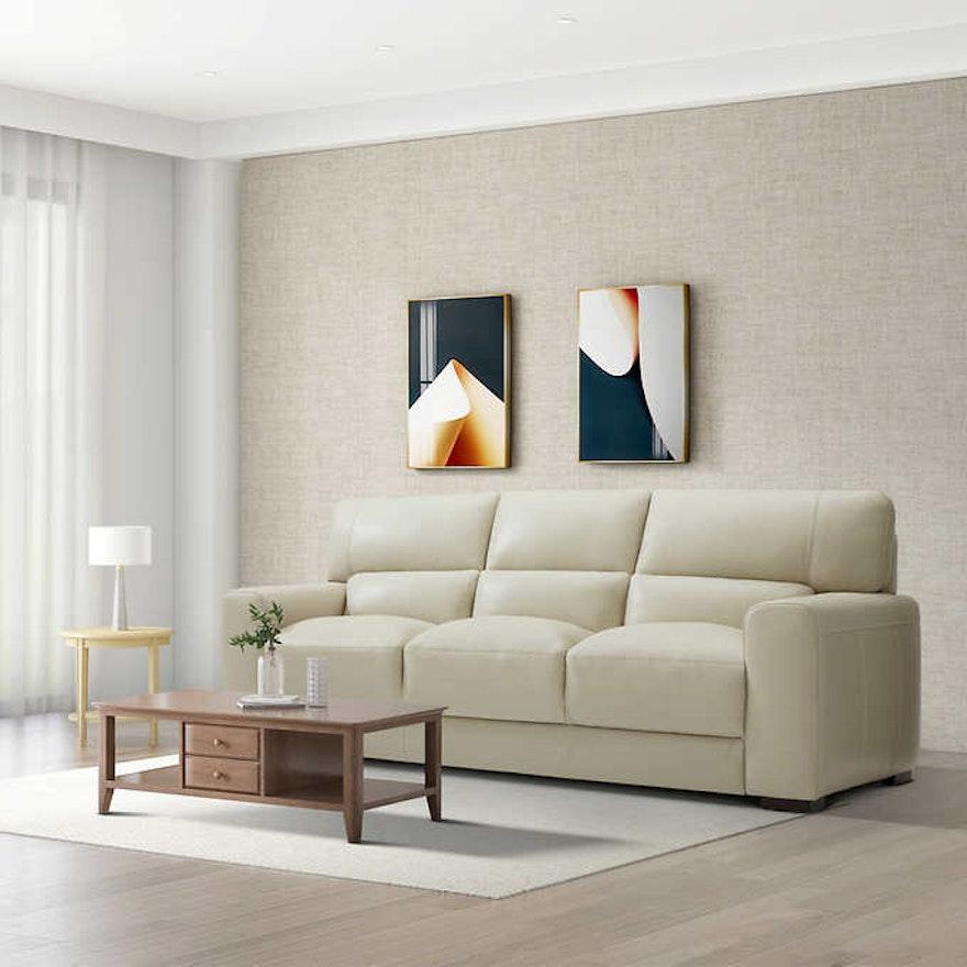 """Gilman Creek Furniture """"Rawlins"""" Three-Seat Leather Sofa"""