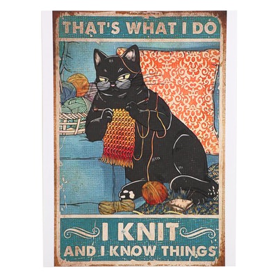 Black Cat Knitting on Couch Giclée, 21st Century