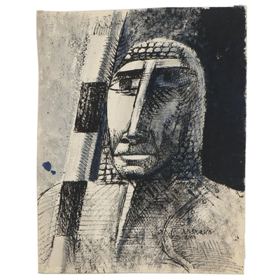 Nik Puspurica Modernist Style Watercolor Portrait, 1963