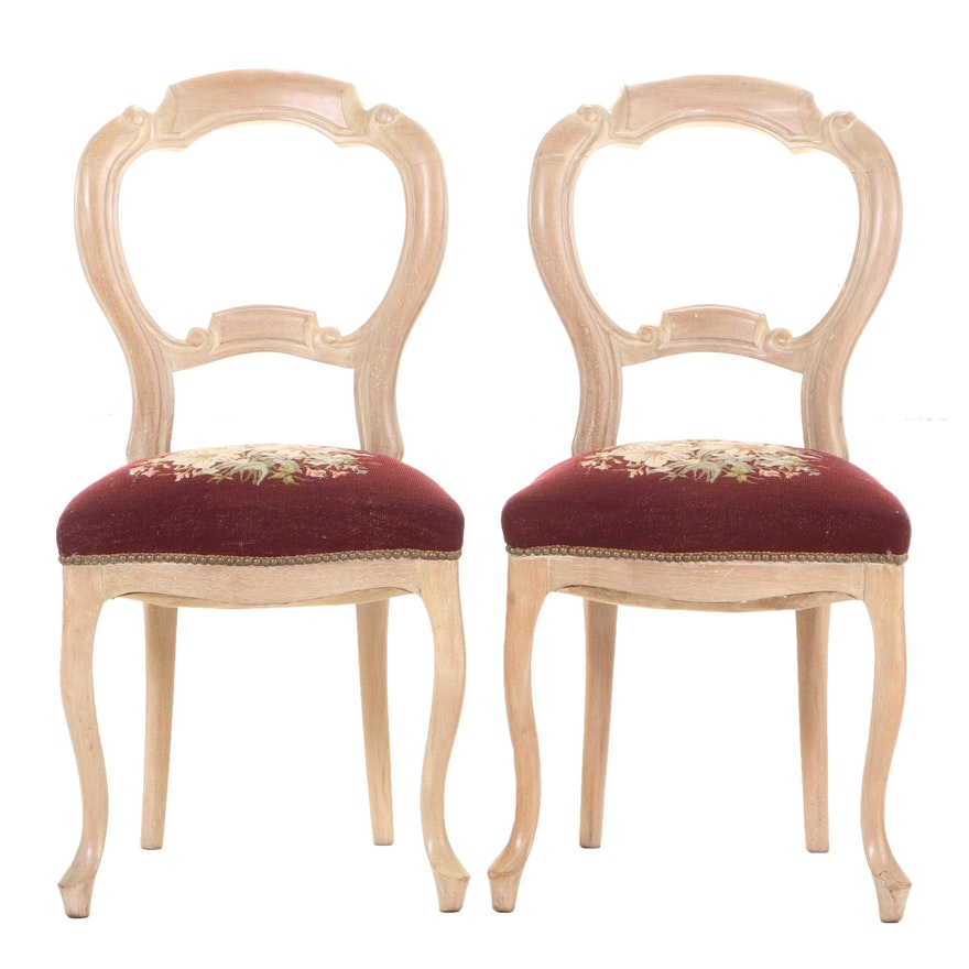Pair of Victorian Walnut Side Chairs in Pickled Finish and Needlepoint Seats