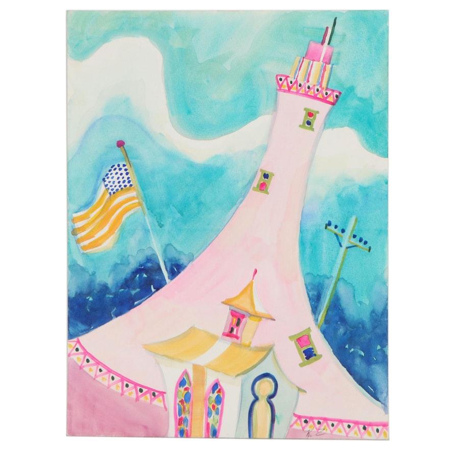 "Kathleen Zimbicki Abstract Watercolor Painting ""Lighthouse"""