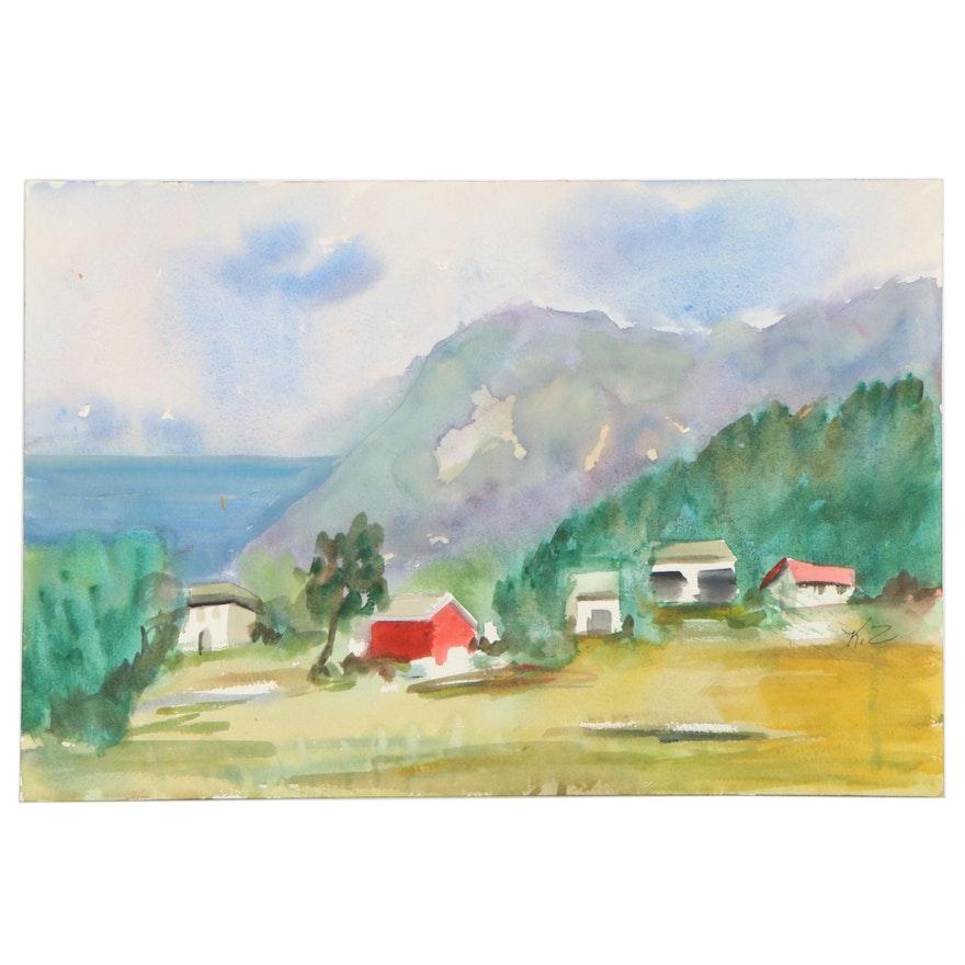 "Kathleen Zimbicki Landscape Watercolor Painting ""Building"""