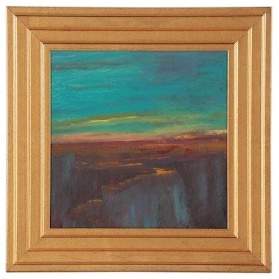 "Robert Riddle-Baker Acrylic Painting ""Dark Canyon"""