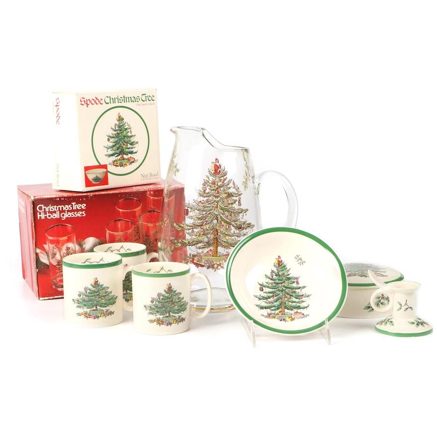 "Spode ""Christmas Tree"" Hi-Ball Glasses, Mugs, Pitcher and Others"