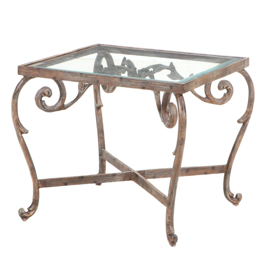 Cast Iron End Table with Inset Glass Top