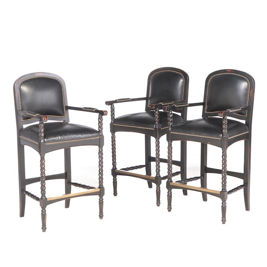 Three Ebonized Oak and Leather Barstools with Barley-Twist Detail
