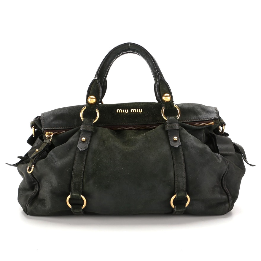 Miu Miu Dark Green Suede and Leather Two-Way Bag