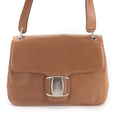 Salvatore Ferragamo Vara Light Brown Leather Shoulder Bag
