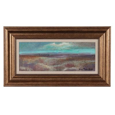 "Robert Riddle-Baker Acrylic Painting ""Blue Horizon"""