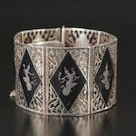 Vintage Siam Sterling Niello Panel Bracelet