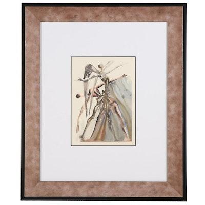 "Salvador Dalí Wood Engraving ""Les négligents"""