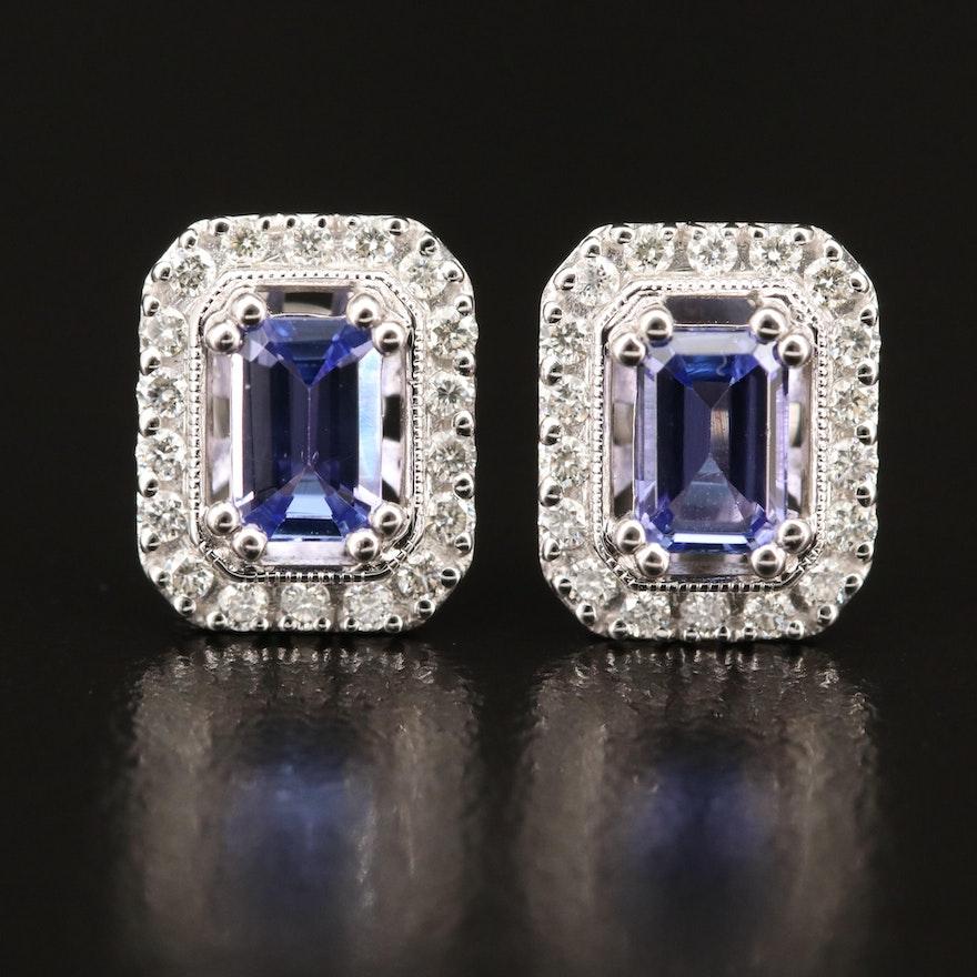 14K WHITE GOLD DIAMOND, TANZANITE EARRINGS