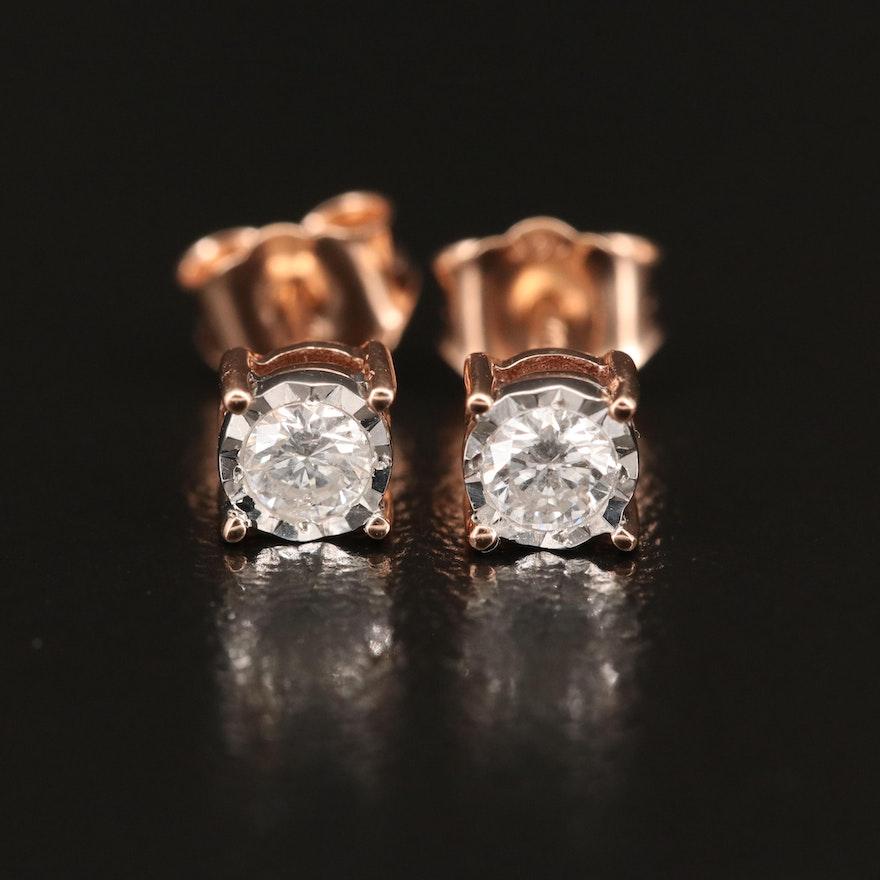 EFFY 14K WHITE & ROSE GOLD DIAMOND EARRINGS