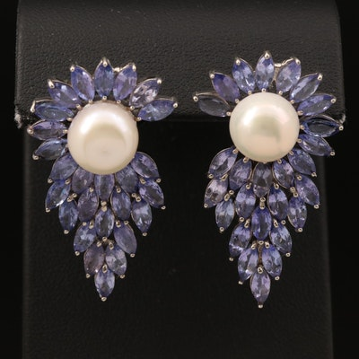Sterling Silver Pearl and Tanzanite Earrings