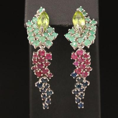 Sterling Silver Peridot, Corundum and Emerald Cluster Drop Earrings