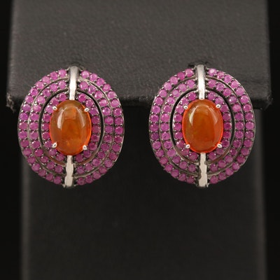 Sterling Silver Opal and Ruby Earrings