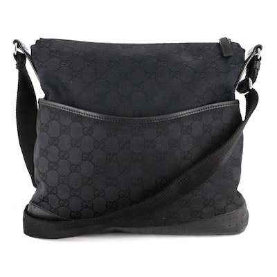 Gucci Crossbody in Black GG Canvas with Smooth and Perforated Leather