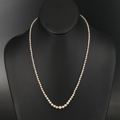 10K Graduated Pearl Necklace