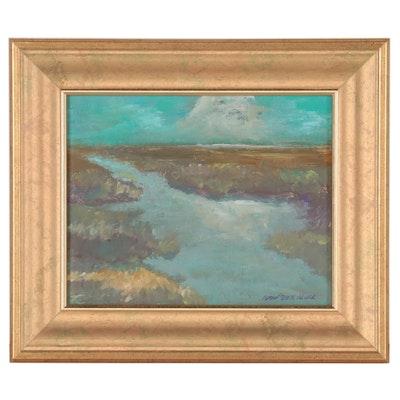 "Robert Riddle-Baker Acrylic Painting ""Night Pond,"" 2021"