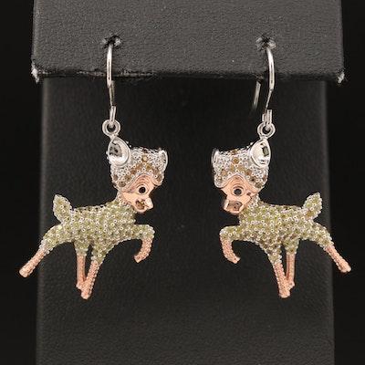Sterling Silver Sapphire Lamb Earrings
