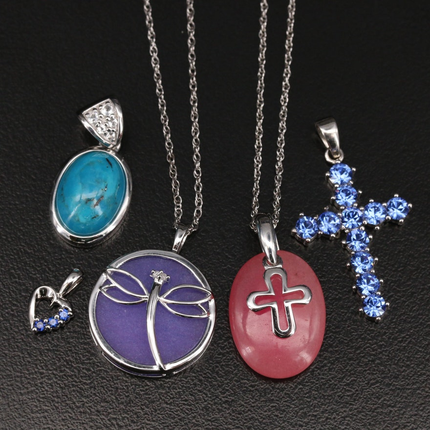 Sterling Diamond and Gemstone Pendant Necklaces Including Crosses