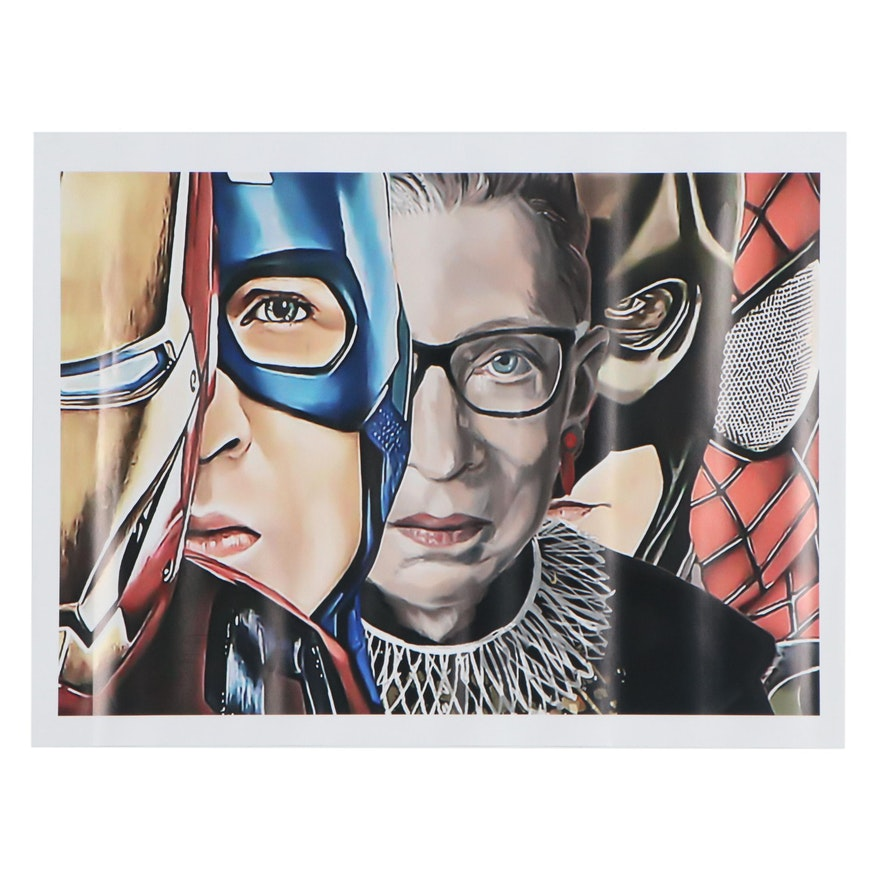 Pop Art Giclée of Ruth Bader Ginsburg and Comic Book Superheroes
