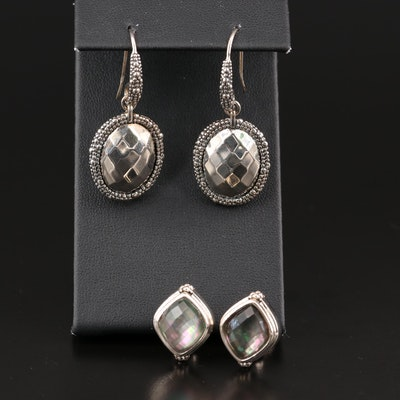 Michael Dawkins Sterling Earrings Including Quartz and Mother of Pearl Doublets