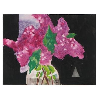 "Kathleen Zimbicki Watercolor Painting ""Lilacs"""