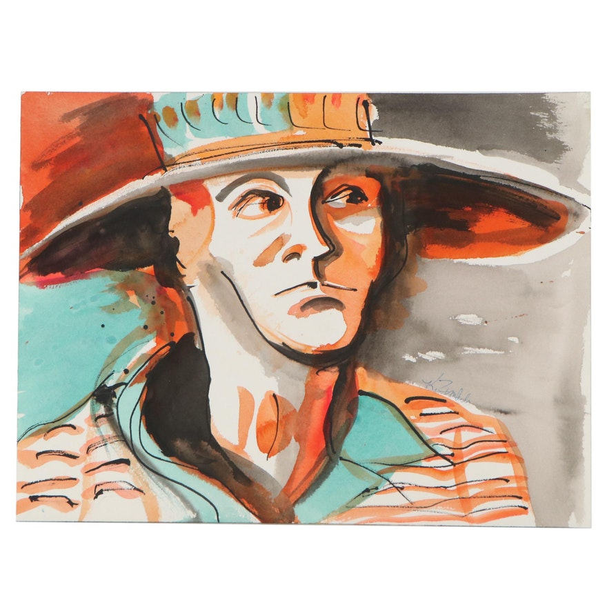 Kathleen Zimbicki Portrait Watercolor Painting of Man with Hat
