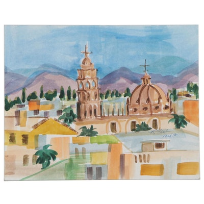 Kathleen Zimbicki Watercolor Painting of Architectural Landscape, 1998