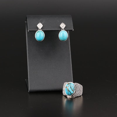Michael Dawkins Sterling Silver Turquoise Ring and Drop Earrings