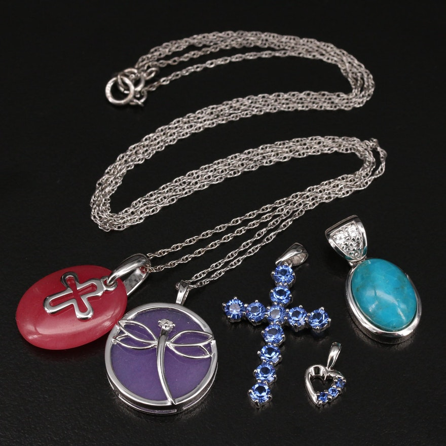 Sterling Diamond and Gemstone Necklaces and Pendants