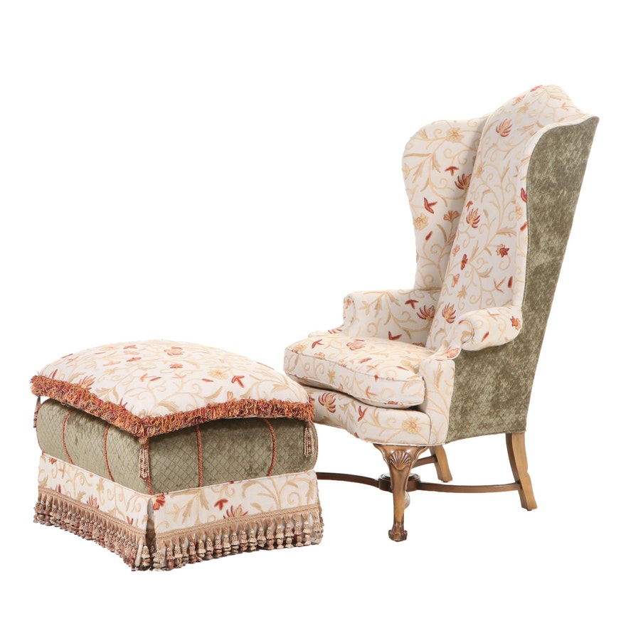 Stanford Furniture Queen Anne Style Crewel-Stitched Wingback Chair and Ottoman