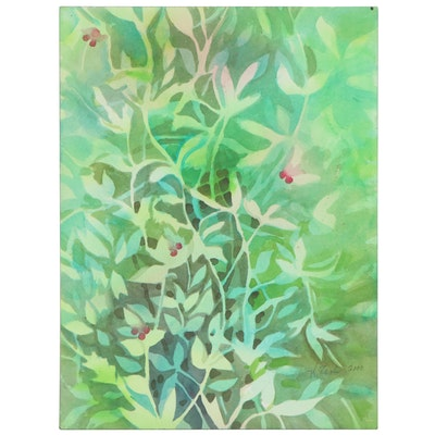Kathleen Zimbicki Abstract Double-Sided Watercolor Painting of Foliage, 2000