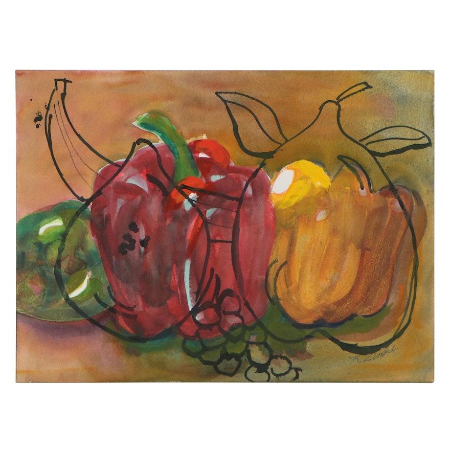 Kathleen Zimbicki Double-Sided Mixed Media Painting