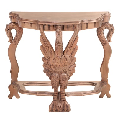 Swan-Carved Side Table in Gilt Painted Finish