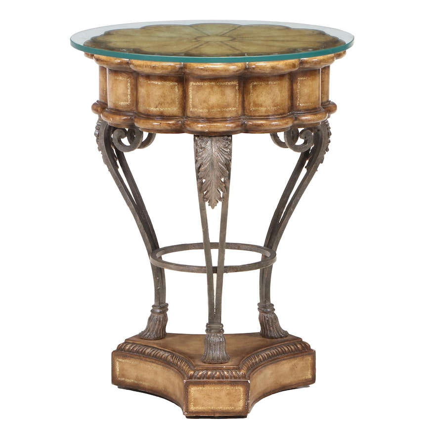 Scalloped Painted Wood and Metal Center Table with Glass Top