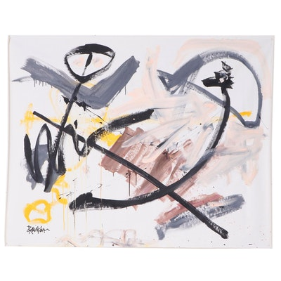 """Robbie Kemper Abstract Expressionist Acrylic Painting """"Peach Zig Zag"""""""