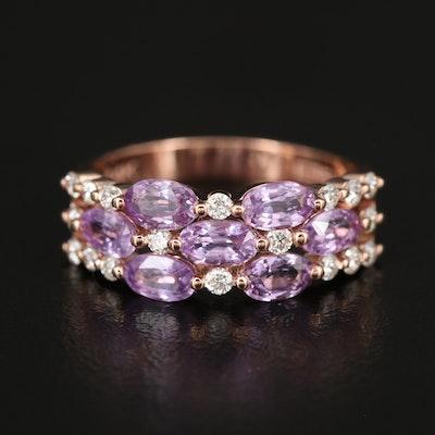EFFY 14K ROSE GOLD DIAMOND, PURPLE SAPPHIRE RING