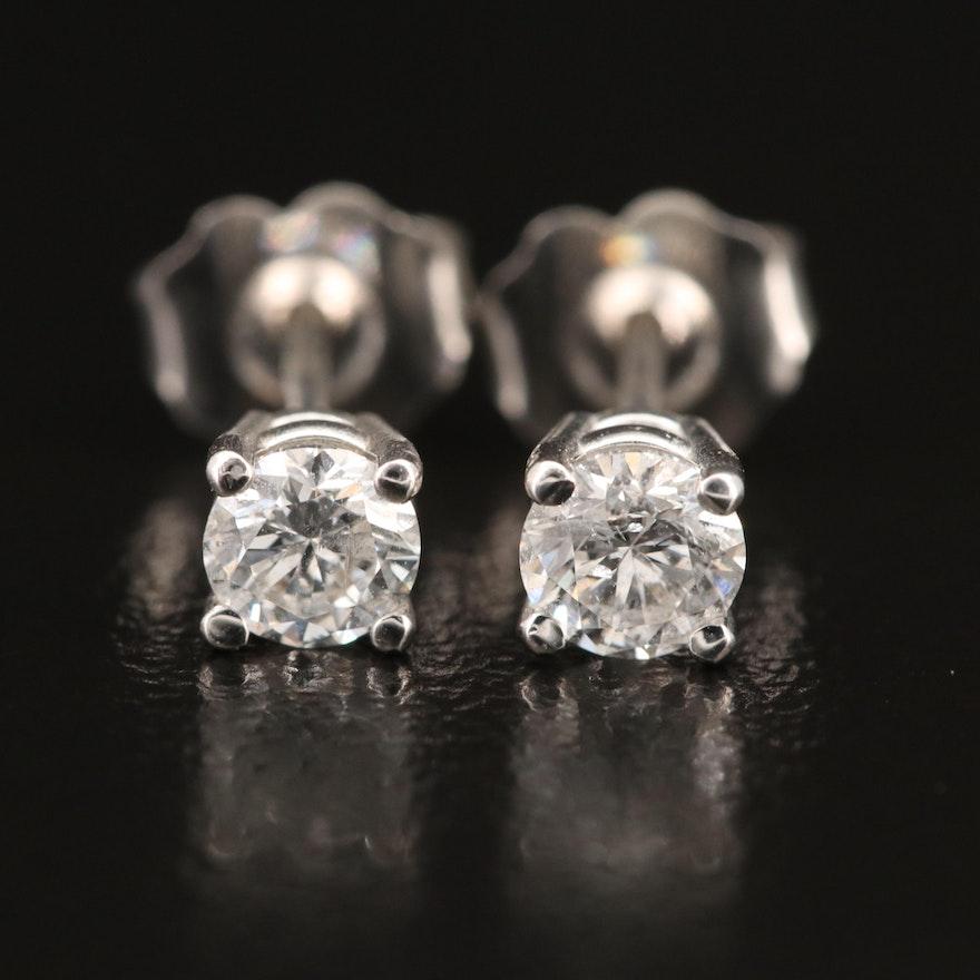 EFFY 18K WHITE GOLD DIAMOND EARRINGS