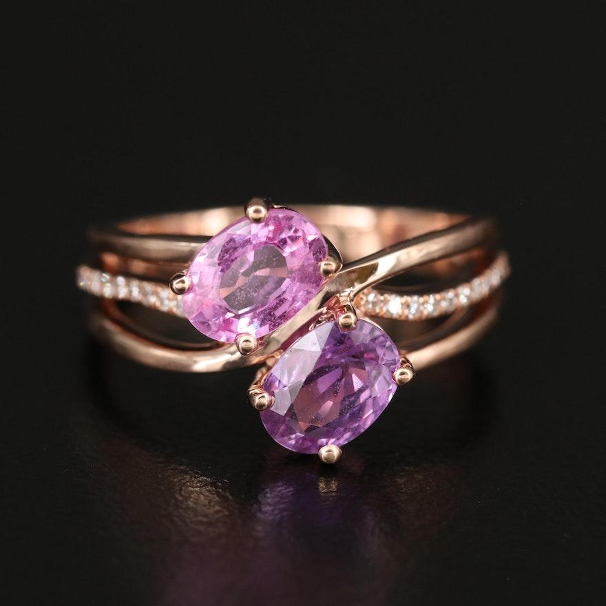 14K ROSE GOLD DIAMOND, PINK SAPPHIRE, PURPLE SAPPHIRE RING